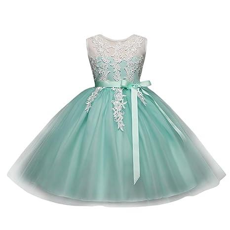 e80db20743e1b Oyedens Bambine Senza Maniche Principessa Abiti Eleganti Bambina Partito  Compleanno Comunione Swing Vestiti Da Cerimonia Bambini ...