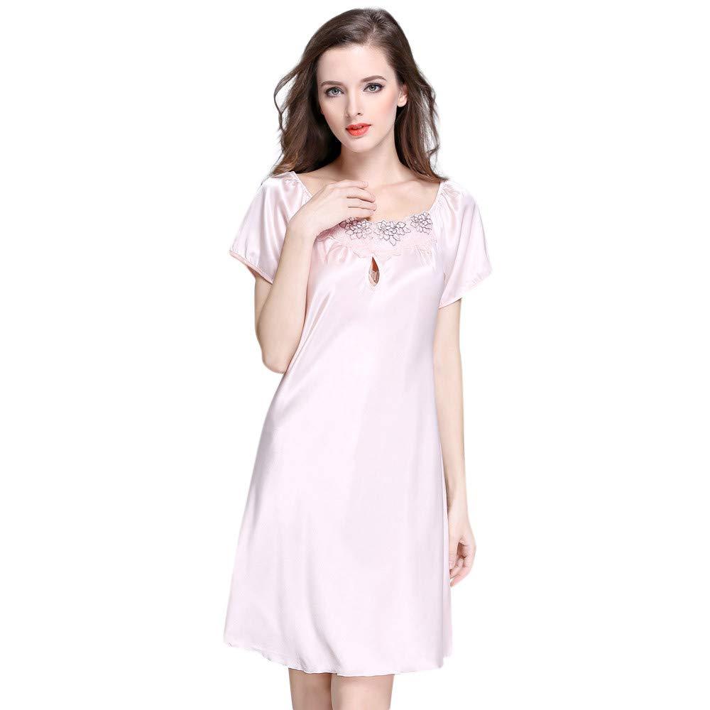 Lingerie Women Short Sleeve Robe Dress Babydoll Night Sleepwear Kimono Dress