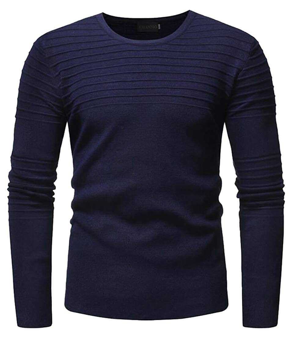 lovever Mens Winter Tunic Sweater Crew Neck Knit Ribbed Long Sleeves
