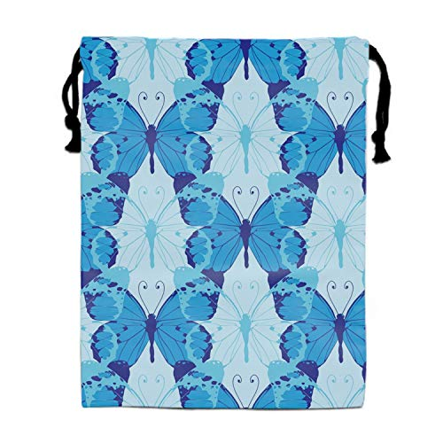 Hair Dryer Bags Cotton Drawstring Bag Container Hairdryer Bag, 11.8 by 15.7 Inch Blue Butterflies Pattern