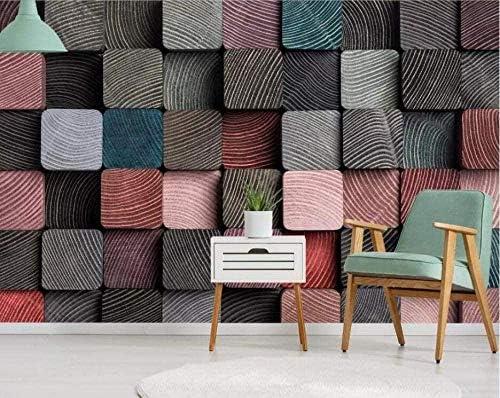 Hxcok 壁画壁紙3Dチェッカーボード木目抽象ウール壁紙リビングルーム寝室オフィス廊下装飾壁画現代壁画装飾-420X260cm