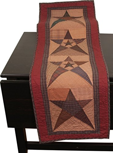 Primitive Star Antiqued Table Runner Quilt 47 Long By 16 Wide 100% Cotton Handmade Hand Quilted Heirloom Quality