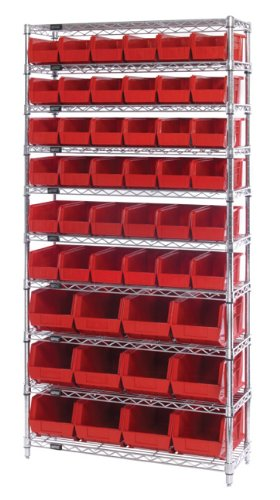 Quantum Storage Systems WR10-230240BK 10-Tier Complete Wire Shelving System with 36 QUS230 and 12 QUS240 Black Giant Open Hopper Bins, Chrome Finish, 14
