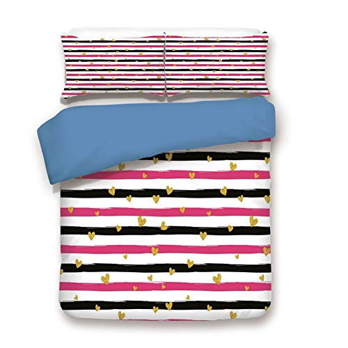 (Duvet Cover Set King Size, Decorative 3 Piece Bedding Set with 2 Pillow Shams,Romantic Teenager Love Sign Hearts on Grunge Stripes Lines)