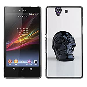 GOODTHINGS Funda Imagen Diseño Carcasa Tapa Trasera Negro Cover Skin Case para Sony Xperia Z L36H C6602 C6603 C6606 C6616 - 3d plástico impreso cráneo muerte negro
