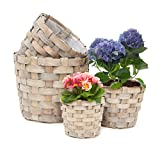 Relaxdays Round Tall Plant Baskets Set of 4 Planters, Decorative Wood Flower Pots Plants the House Garden, Grey-Brown