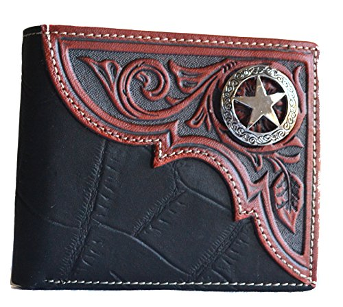 - western men brown texas LONE star concho bi-fold small leather Wallet (black)