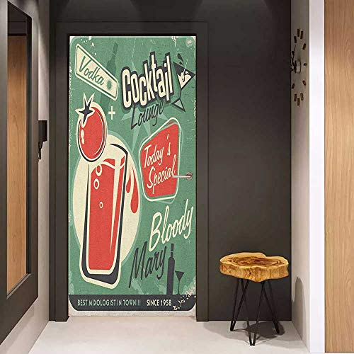 (Onefzc Door Wallpaper Murals Retro Nostalgic Poster Bar Art for Todays Special Famous Cocktail Bloody Drink and Vodka WallStickers W38.5 x H79 Green Red)