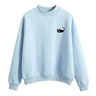 Simayixx Blouse for Women Women Cute Graph Printed Crew Neck Sweatshirts  Casual Oversized Pullover 0b3651b0b