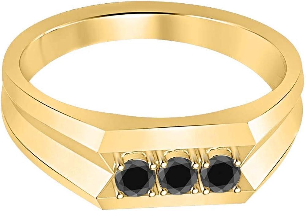 RUDRAFASHION 14k Yellow Gold Plated Round Cut Black CZ Diamond 925 Sterling Silver Mens Anniversary Band Ring
