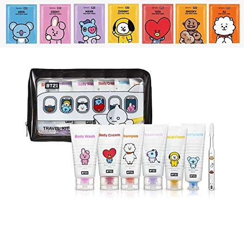 BTS Official Merchandise One Sheet Pack Mediheal + BT21 Cosmetic Travel Kits Pouch Body Wash Body Cream Shampoo Treatment Facial Foam Toothpaste and Toothbrush ()