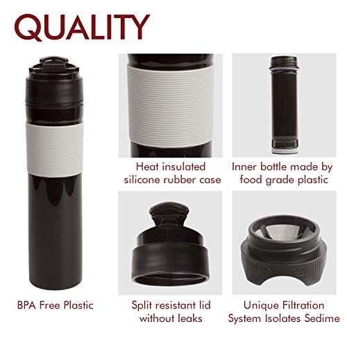 AMOVEE French Press Travel Coffee Press Mug Tea and Coffee Maker Bottle, Travel Tumbler, 350ml/12oz (Black)