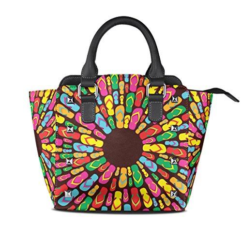 LIANCHENYI - Bolso de asas de Cuero De La Pu para mujer multicolor Talla única
