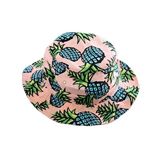 Kshion Women Pineapple Print Bucket Folding Sun Hat Fisherman Cap (Pink) 732bfba826fa