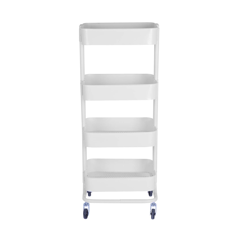 WONLINE 4-Tier Mental Rolling Storage Cart, Mobile Tier Storage Shelves Organizer Trolley Bathroom Book Art Utility Cart on Wheels