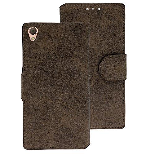 Handy Schutz Tasche Geldbeutel Hülle Flip Case Etui Wallet Sony Xperia Z3 Braun
