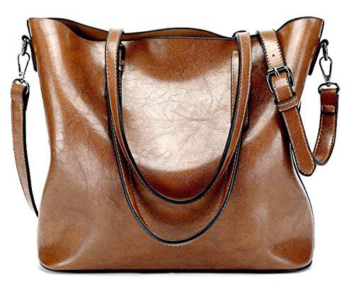 Soft Handbag Dreubea Crossbody Shoulder Bag Hobo Leather Purse Women's Tote Brown 5qfx6fw1