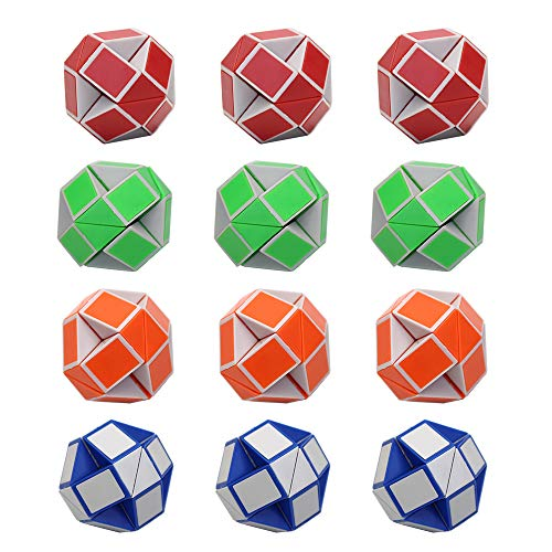 KisSealed 12 Pack 24 Blocks Mini Snake Cube, Magic Speed Cubes, Twist Puzzle Toys Kids Party Bag Fillers, Party Favours, Random Color