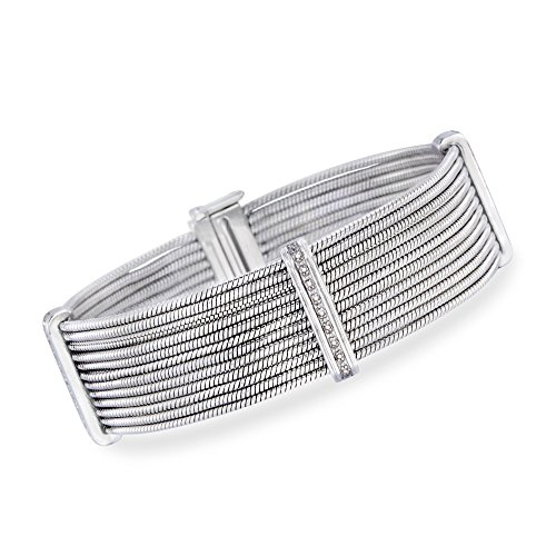 Ross-Simons Stainless Steel and Sterling Silver Multi-Row Cable Bracelet With Diamond Accents