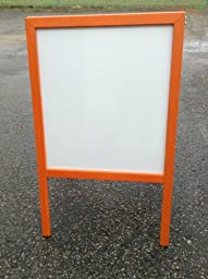 Sidewalk Display Sign Easel 39 X 24 White Dry Erase Board Bright Orange Hardwood Frame