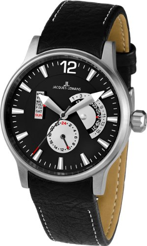 Jacques Lemans Men's 1-1741G Porto Sport Analog Black Leather Strap Watch
