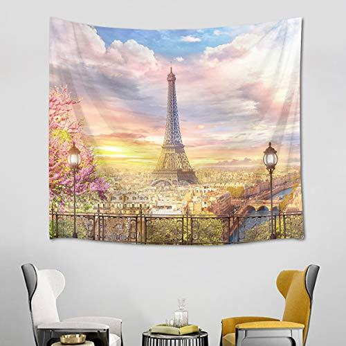 HVEST Eiffel Tower Tapestry Spring Scenery of Romantic City