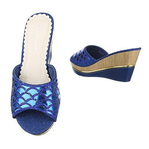 Ital-Design Pantoletten Damenschuhe Jazz & Modern Keilabsatz/Wedge Keilabsatz Sandalen/Sandaletten Blau