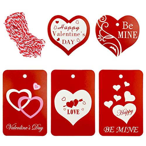 100 Pieces Valentine Gift Tags With String - 5 Designs