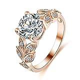 Jewby 2018 New Fashion Gold Pretty Crown Lady Crystal Ring Princess Ring (9#)