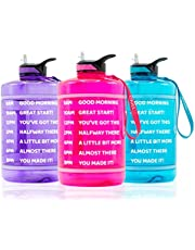 ChillXX Large Motivational Water Bottle with Times to Drink (2.2 & 3.78 Litre) - Daily Water Bottle with Straw - Time Marker by The Hour - Amount of Water and Time Markings - Gym Accessories (Gallon)