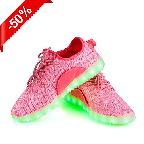 Shinmax Ljus Upp Skor Ledde Skor Ledde Sneakers Andas 7 Färger Lätta Skor För Män Och Kvinnor, Barnskor Rosa Mesh