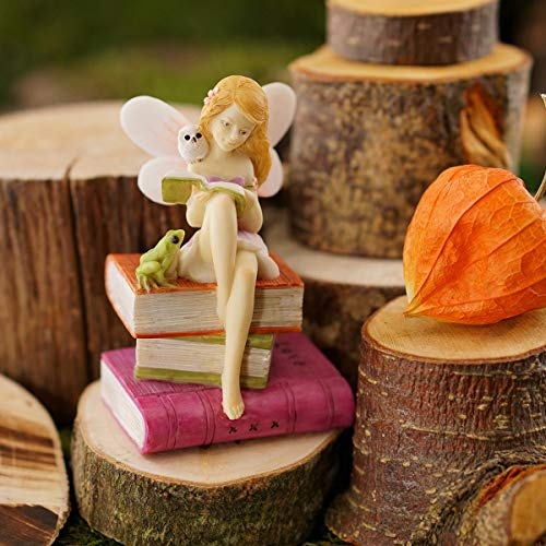 ShopForAllYou Figurines and Statues My Fairy Gardens Mini - Fairy Reading On Books with Frog and Owl - Supplies
