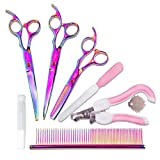 Tlanpu Professional Pet Grooming Scissors Kit,7.5 inch Rainbow Color Premium Pet Scissors for Dogs Cats,Electroplating Titanium, Sharp and Durable Stainless,Pink Pet Nail Claw Trimmer Set. (Full Set)
