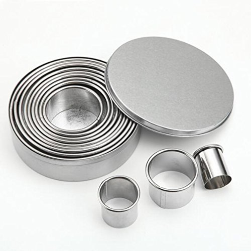 Cookie Cutter Set ,Mexidi Round Cookie Biscuit Cutter Set Stainless Steel 12 Circles Pastry Donut Doughnut Cutter Set Baking Metal Ring Molds for Muffins, Crumpets, Donuts & Scones (Silver)