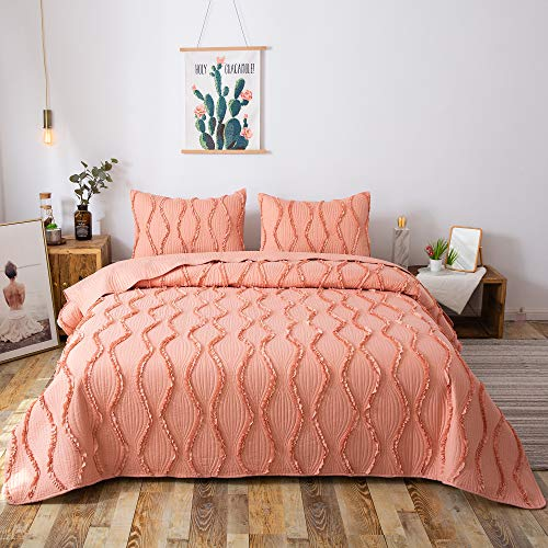 FELIX ANGELA HOME 3-Piece Bedding Quilt Set-Elegant Ruffle Stripe Quilt-Luxurious Brushed Microfiber Solid Color Coverlet Set -Twin Size(68