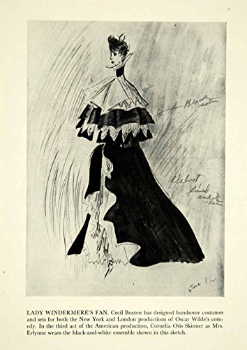 Cecil Beaton Costume Design (1946 Print Lady Windermere's Fan Oscar Wilde Cecil Beaton Costume Art Dress YTA3 - Original Halftone Print)
