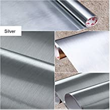 Brushed Metal Silver Contact Paper Film Vinyl Self Adhesive Backing Waterproof Metallic Gloss Shelf Liner Peel and Stick Wall Decal for Covering Counter Top Kitchen Cabinet 24 X 195 inch Roll