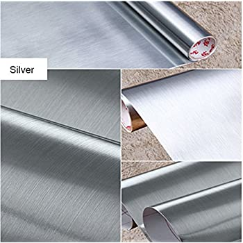 Brushed Metal Look Contact Paper Film Vinyl Self Adhesive Backing Waterproof Metallic Gloss Shelf Liner Peel and Stick Wall Decal for Covering Counter Top Kitchen Cabinet (24 X 78.7 inch, Silver)