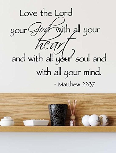 Ideogram Designs (23x19) Love The Lord Your God with All Your Heart with All Your Soul with All Your Mind Matthew 22:37. Vinyl Wall Decal Decor Quotes Sayings Inspirational Wall Art (To Love Your God With All Your Heart)