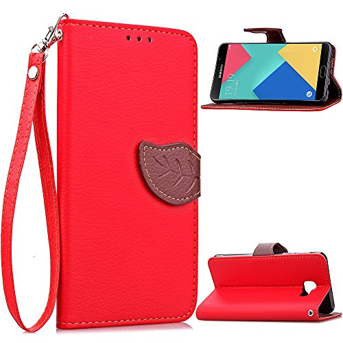 XHD-Protección del teléfono para samsung Estuche Samsung A9, estuche de billetera 2 en 1 Estuche protector de folio de cuero de poliuretano cubierta interior magnética desmontable de TPU con correa pa Red
