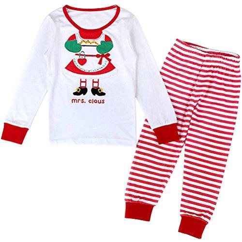 Xmas Mrs. Claus Little Girls' Pajama Set Tee&Pants 100% Cotton Kids Pjs 12M-2Y ()
