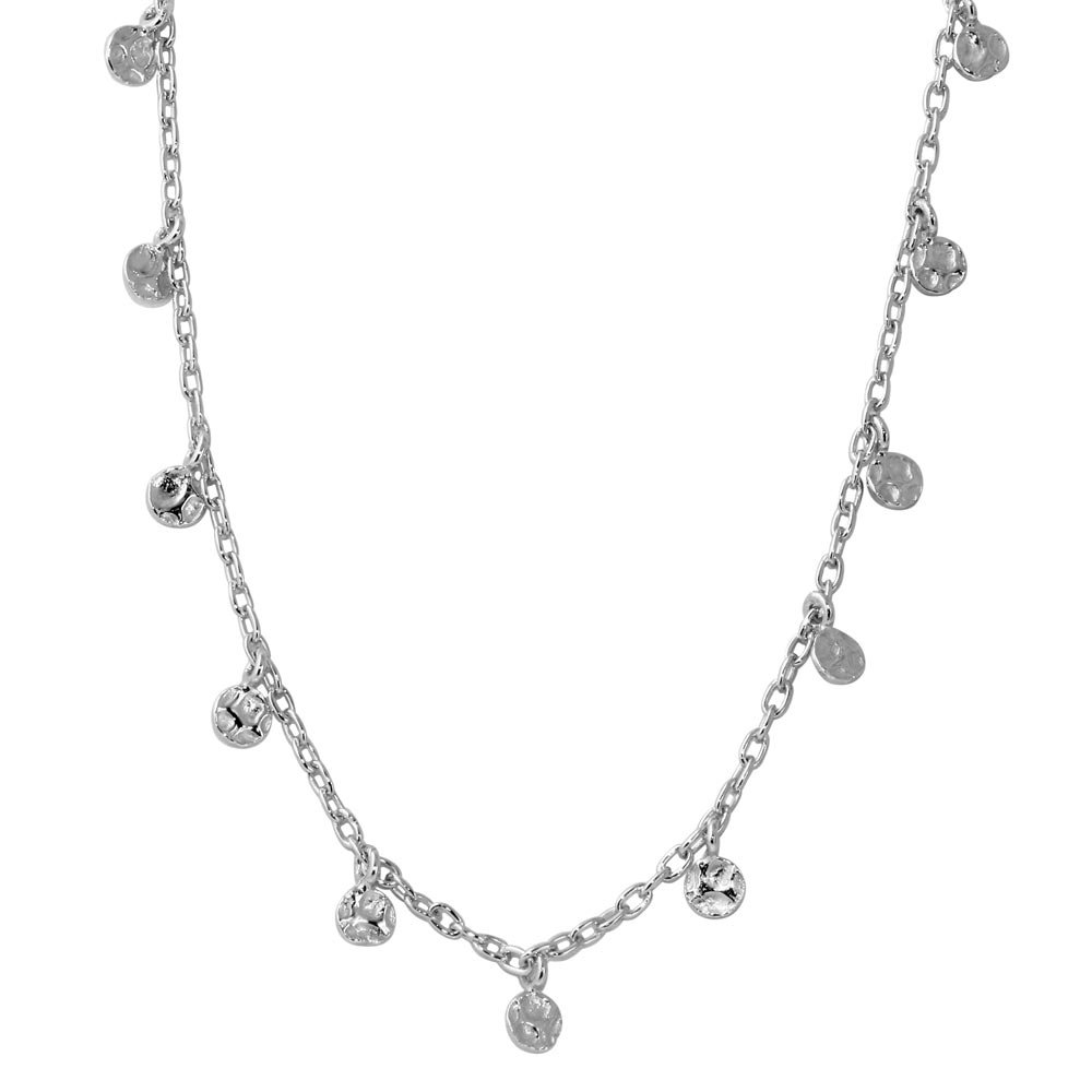 CloseoutWarehouse Rhodium Plated Sterling Silver Dangling Circle Confetti Necklace by CloseoutWarehouse (Image #1)