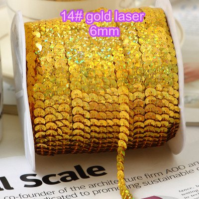Jienie 100yards/lot, 6mm Laser Sequin Trim Gold DIY Manual Accessories for Craft Gold Laser