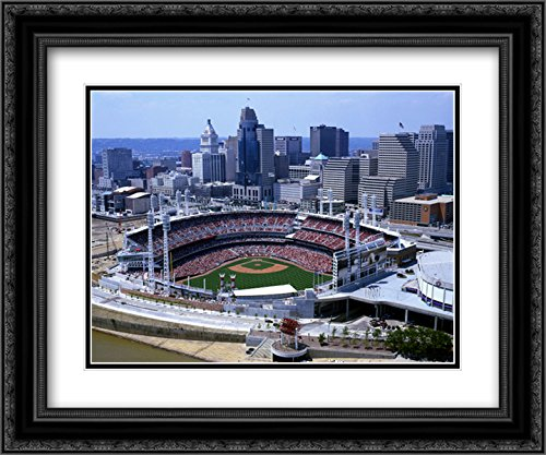 Great American Ballpark 2x Matted 24x20 Black Ornate Framed Art Print from the Stadium Series
