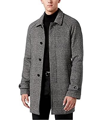 Michael Kors Mens Plaid Overcoat Dress Grey 42R