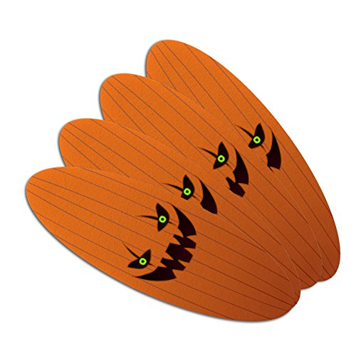 Jack-o'-lantern Pumpkin Face Halloween Decoration Double-Sided Oval Nail File Emery Board Set 4 Pack