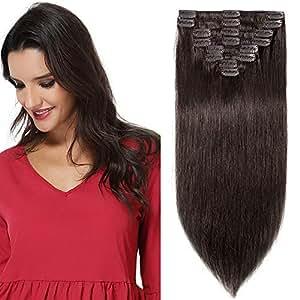 "22""(55cm) Extensiones de Cabello Natural Clip Pelo Humano Liso Largo 100% REMY Hair 8 Piezas 18 Clips para Mujer (#2 Marrón Oscuro,110g)"