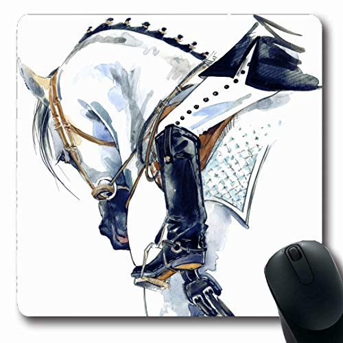 Ahawoso Mousepads Sport Dressage Equestrian Horse Rider Nature Watercolor Girl Bridle Jockey Design White Oblong Shape 7.9 x 9.5 Inches Non-Slip Gaming Mouse Pad Rubber Oblong Mat