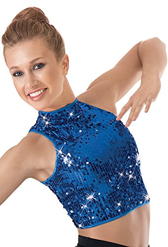 Balera Sequin Dance Crop Top Royal Adult Medium