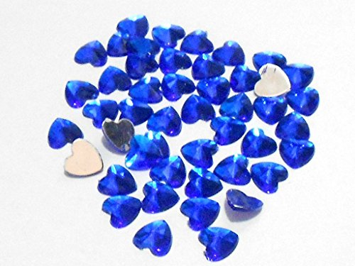 GOELX Kundan Stones Heart Shaped for Crafts, Jewelry Making, Decorations etc. Pack Of 200 Stones - Blue
